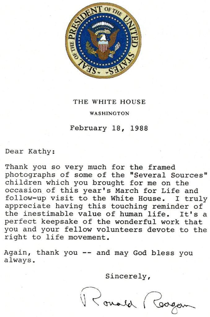 White House Letter from President Reagan