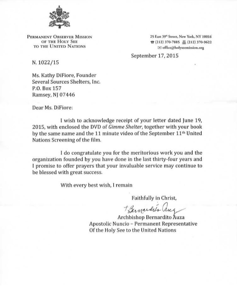 letter from Archbishop Auza of the United Nations