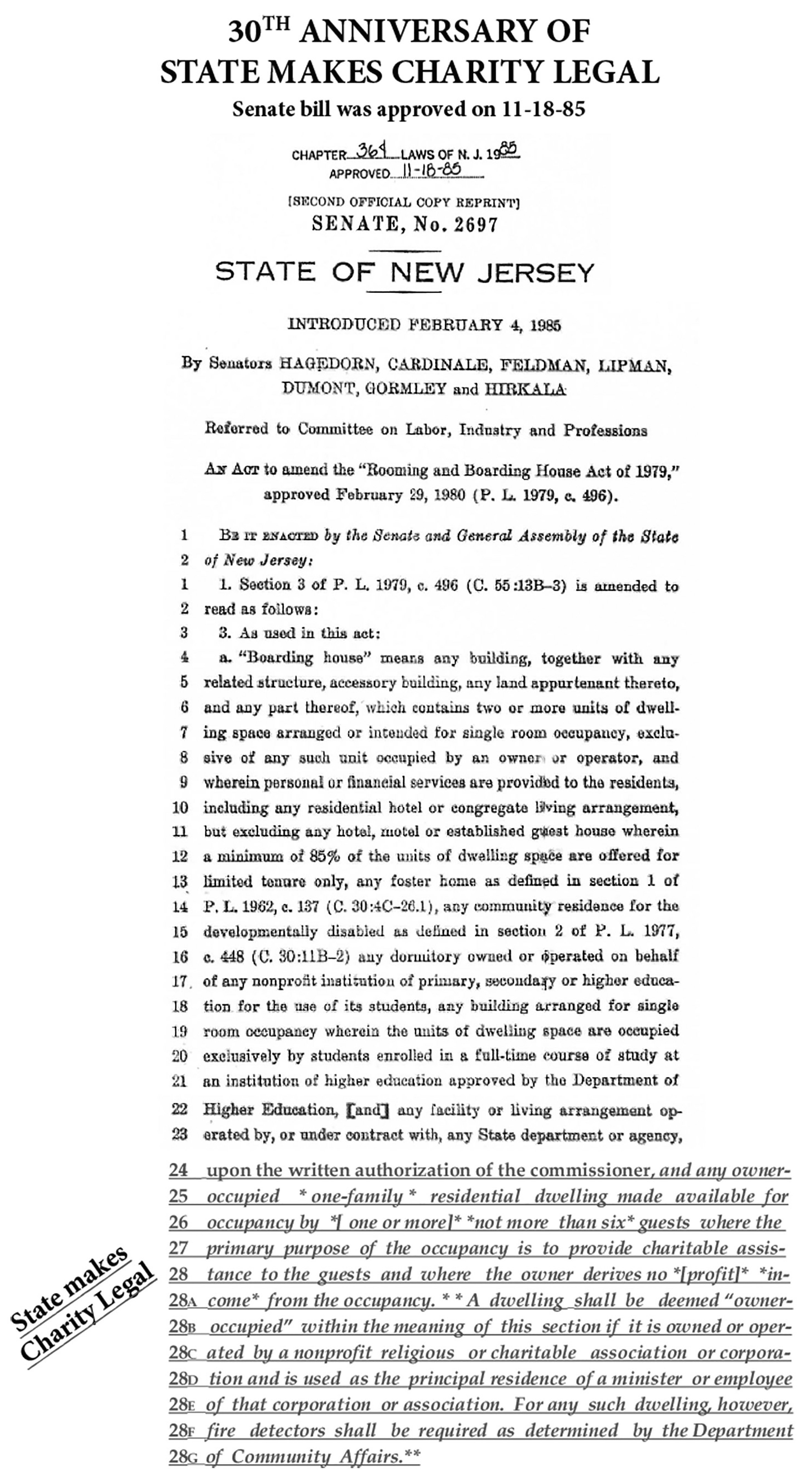 Cardinale bill declaring Several Sources Shelter as a legal charity